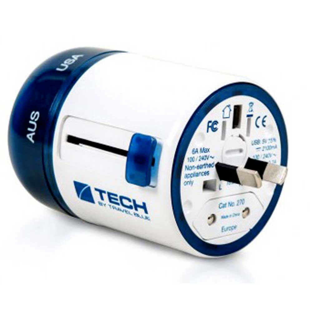 Charge et données Travel-blue Twist & Side World Travel Adaptor+2 Usb