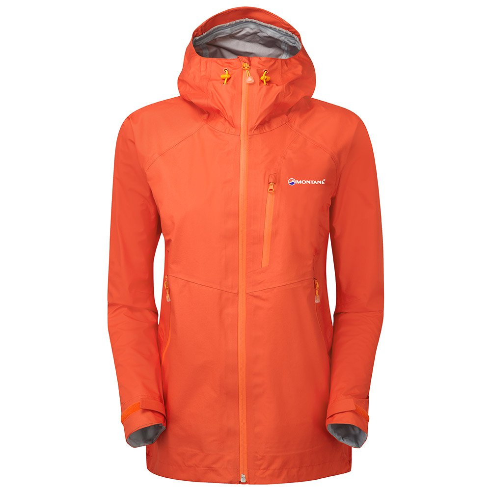 Montane Damen Atomic Outdoor Jacke Windbreaker Top Rot Sport Wandern Zip Kapuze