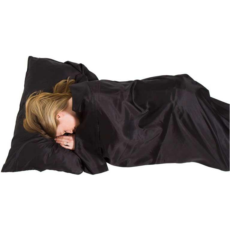 Lifeventure Black Silk Ultimate Sleeping Bag Liner, Mummy, Unisex-Adult, One Size