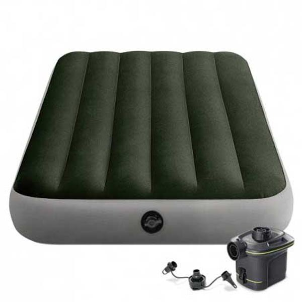 Intex Inflatable Single Mattress With Pump And Fiber-Tech